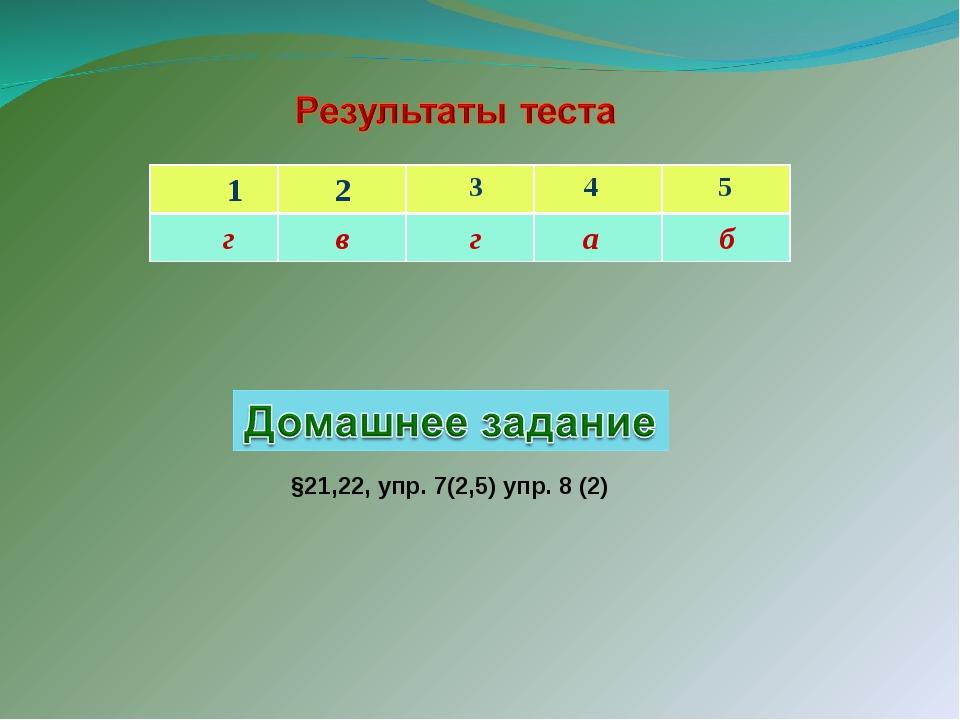 §21,22, упр. 7(2,5) упр. 8 (2) 1 2 3 4 5 г в г а б