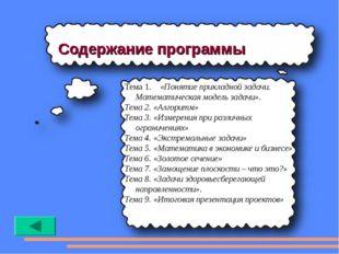 Содержание программы Тема 1. «Понятие прикладной задачи. Математическая модел