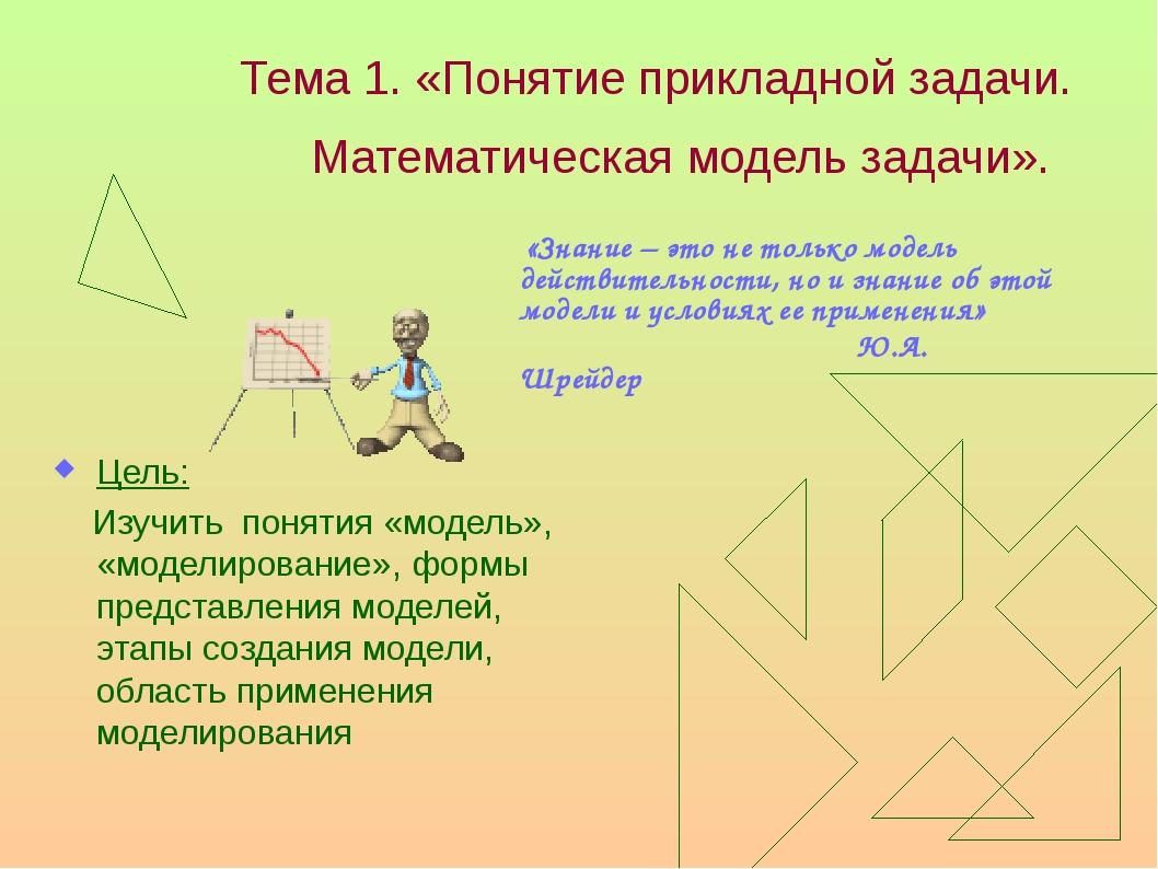 Тема 1. «Понятие прикладной задачи. Математическая модель задачи». Цель: Изуч...