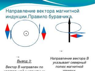 Направление вектора магнитной индукции.Правило буравчика. Вывод 3: Вектор В н