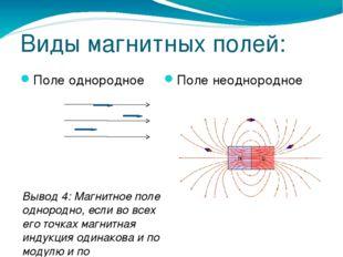 Виды магнитных полей: Поле однородное Поле неоднородное Вывод 4: Магнитное по