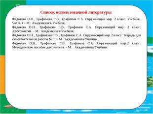 Список использованной литературы Федотова О.Н., Трафимова Г.В., Трафимов С.А.