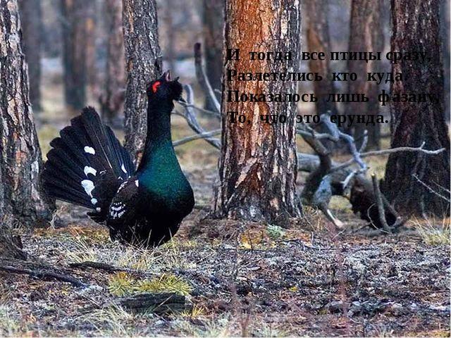 И тогда все птицы сразу, Разлетелись кто куда. Показалось лишь фазану, То, чт...