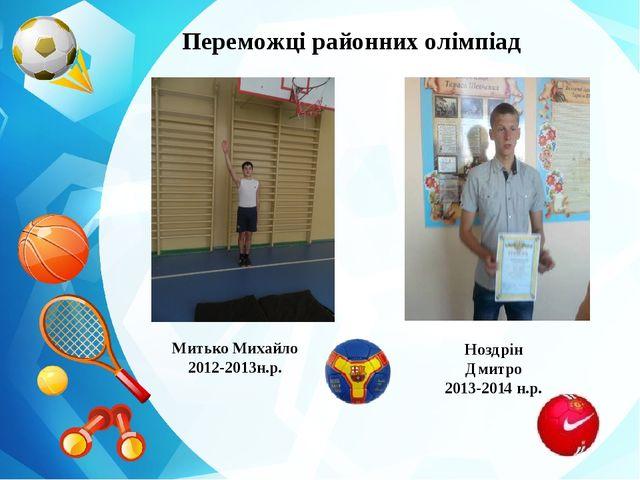 Переможці районних олімпіад Митько Михайло 2012-2013н.р. Ноздрін Дмитро 2013-...