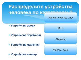 Устройства ввода Устройства обработки Устройства хранения Устройства вывода Р