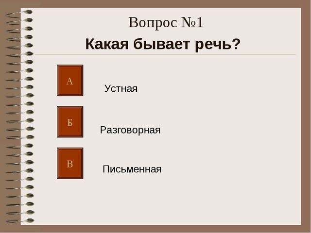 Вопрос №1 Какая бывает речь? А Б В Устная Разговорная Письменная