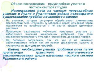 Объект исследования – приусадебные участки в частном секторе г.Рудни Исследов