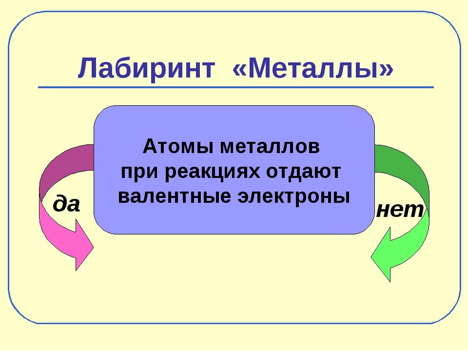 Лабиринт «Металлы» да нет Атомы металлов при реакциях отдают валентные электр...