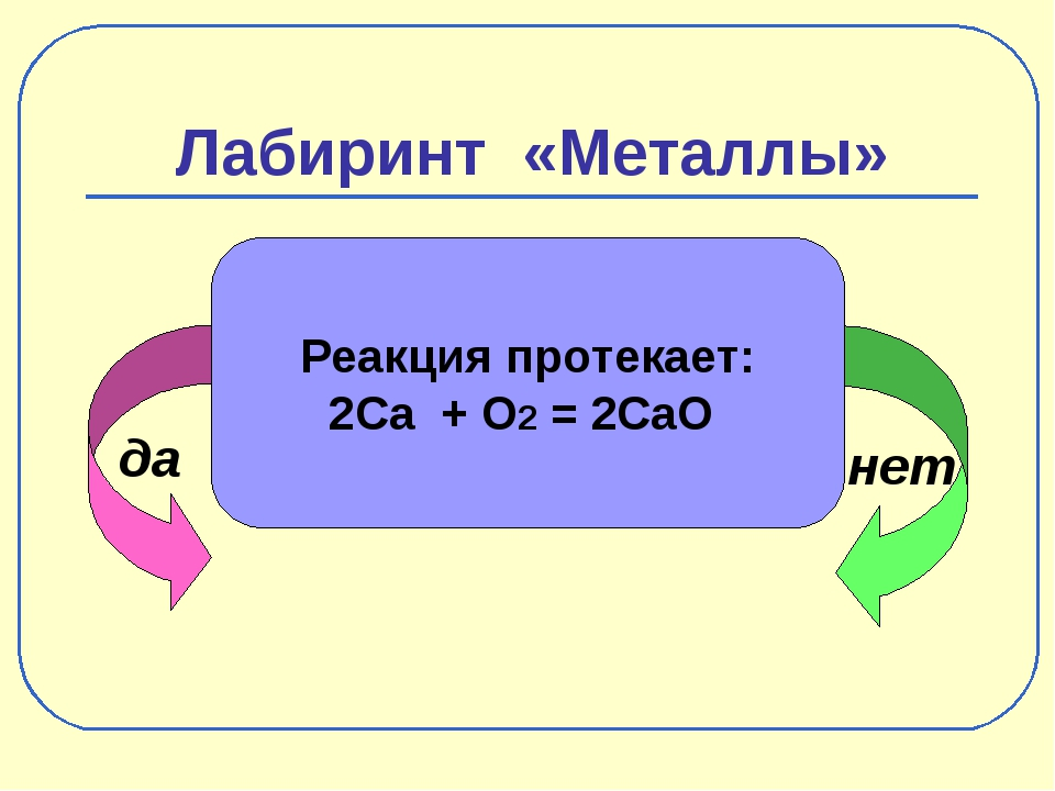 Лабиринт «Металлы» да нет Реакция протекает: 2Ca + O2 = 2CaO