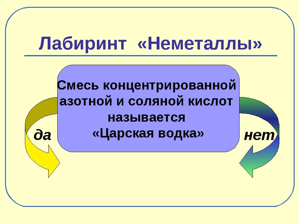 Лабиринт «Неметаллы» да нет Смесь концентрированной азотной и соляной кислот...