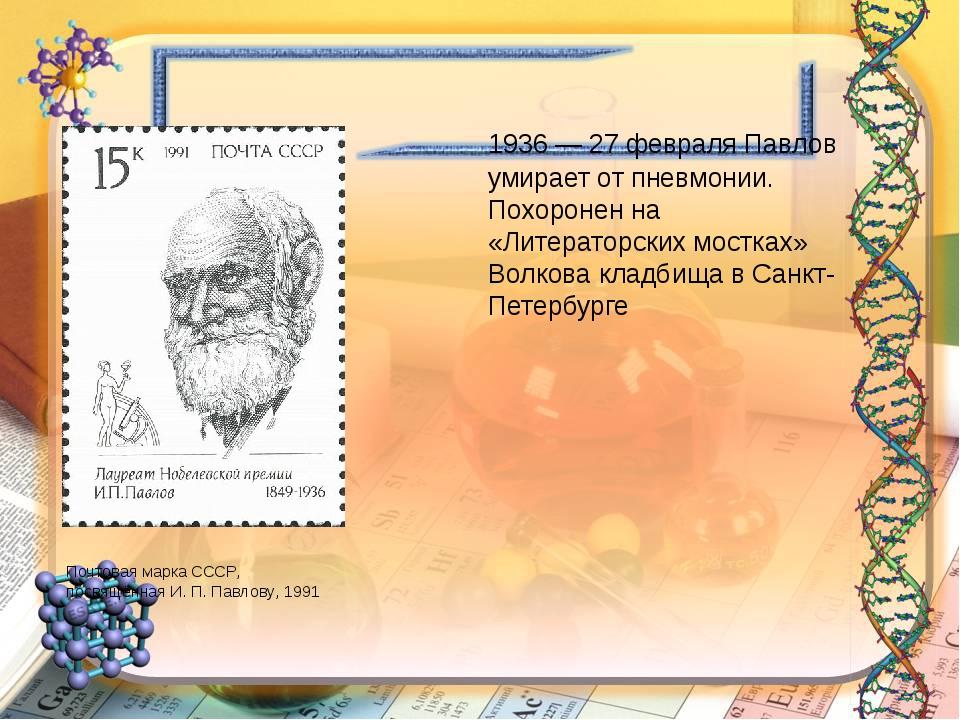 1936 — 27 февраля Павлов умирает от пневмонии. Похоронен на «Литераторских м...