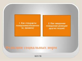 Функции социальных норм 1. Как стандарты поведения(обязанности, правила) 2. К