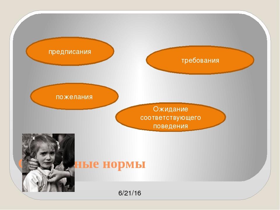 Социальные нормы предписания требования пожелания Ожидание соответствующего п...