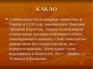 КАКАО Семена какао были впервые привезены в Европу в 1520 году завоевателем М