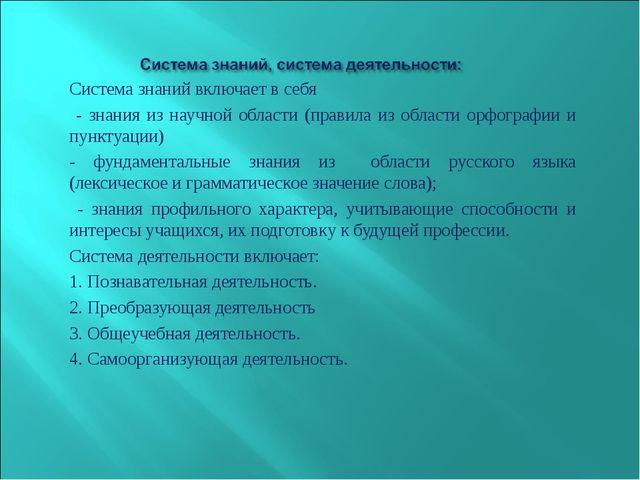 Система знаний включает в себя - знания из научной области (правила из област...