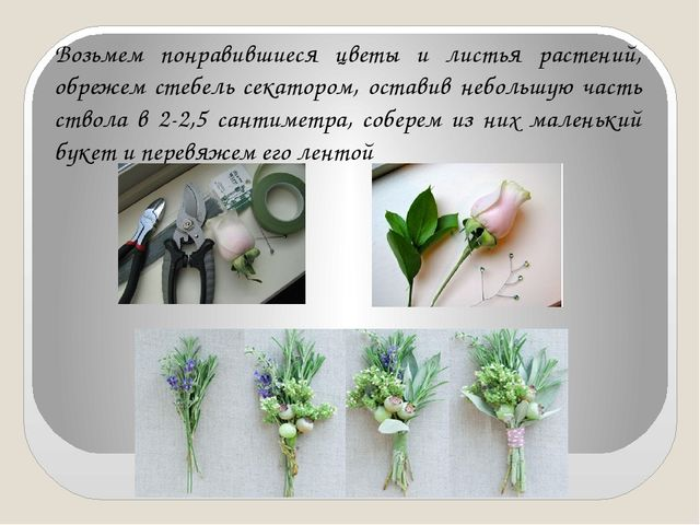 Возьмем понравившиеся цветы и листья растений, обрежем стебель секатором, ост...