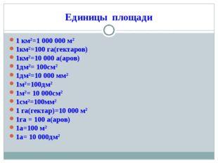 Единицы площади 1 км2=1 000 000 м2 1км2=100 га(гектаров) 1км2=10 000 а(аров)