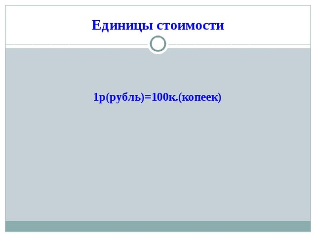 Единицы стоимости 1р(рубль)=100к.(копеек)