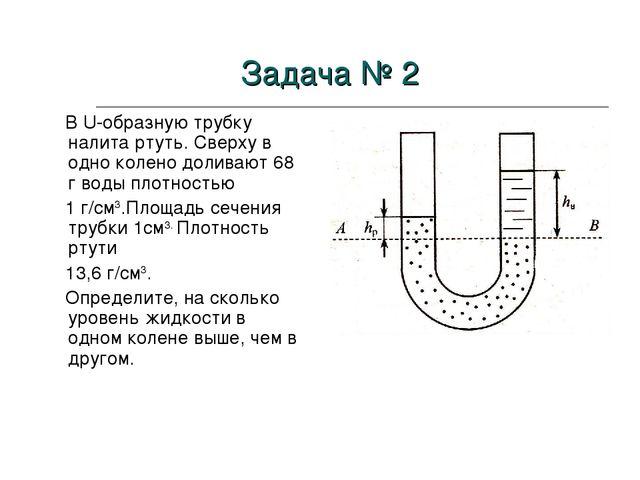 В U-образную трубку налита ртуть. Сверху в одно колено доливают 68 г воды пл...