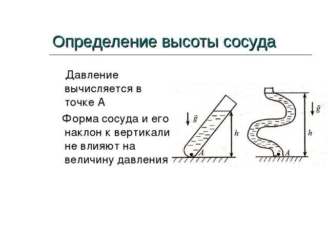 Определение высоты сосуда Давление вычисляется в точке А Форма сосуда и его н...
