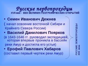 Русские первопроходцы Семен Иванович Дежнев ( начал освоение восточной Сибири