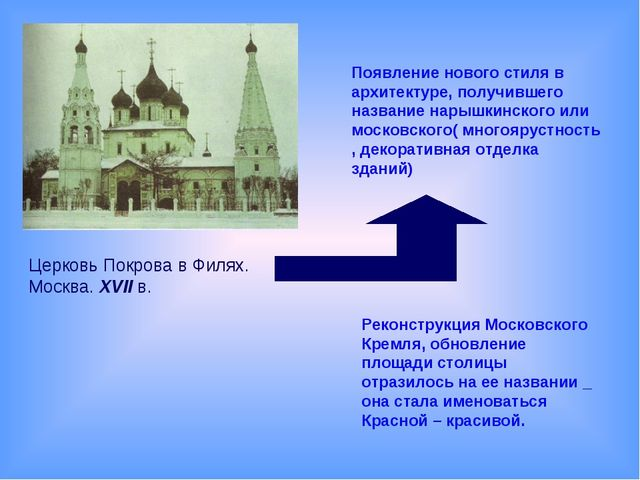 Появление нового стиля в архитектуре, получившего название нарышкинского или...