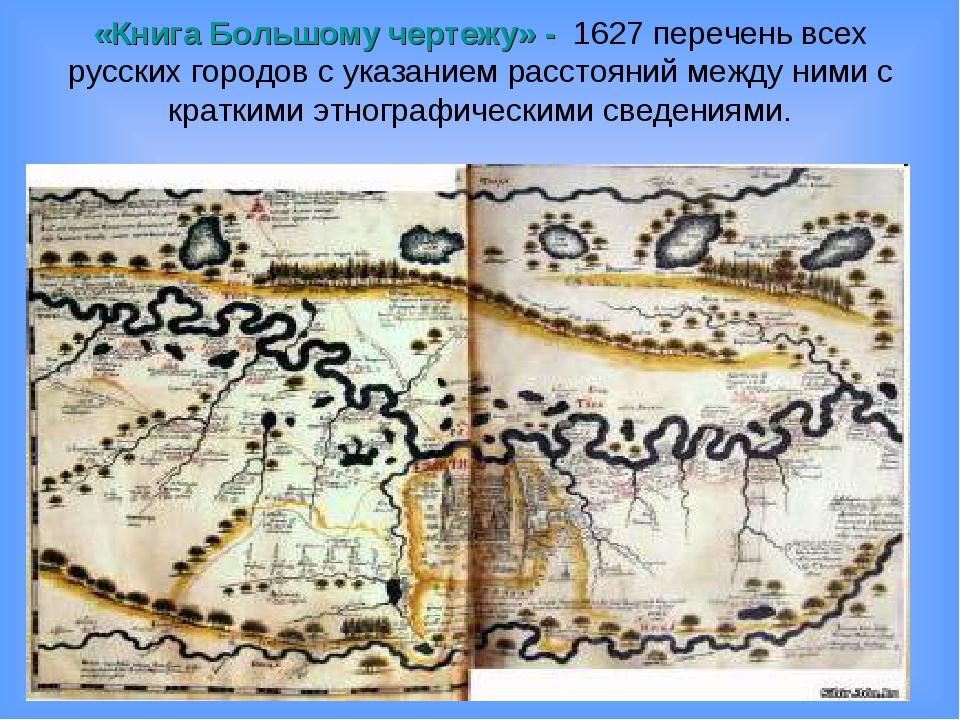«Книга Большому чертежу» - 1627 перечень всех русских городов с указанием рас...