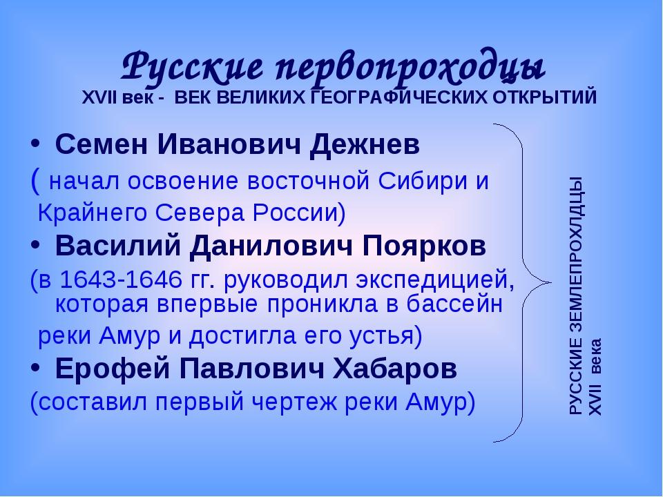 Русские первопроходцы Семен Иванович Дежнев ( начал освоение восточной Сибири...
