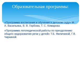 «Программа воспитания и обучения в детском саду» М. А. Васильева, В. В. Гербо