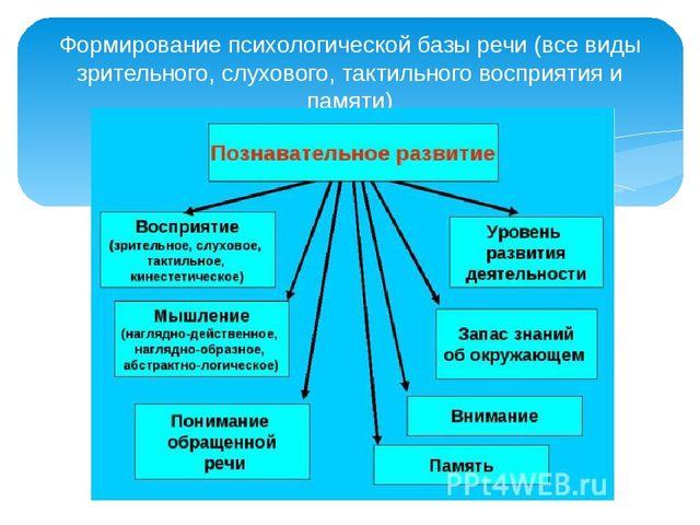 Формирование психологической базы речи (все виды зрительного, слухового, такт...
