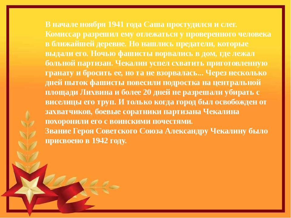 В начале ноября 1941 года Саша простудился и слег. Комиссар разрешил ему отле...