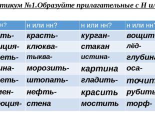 Практикум №1.Образуйте прилагательные с Н или НН. н илинн? н илинн? н илинн?