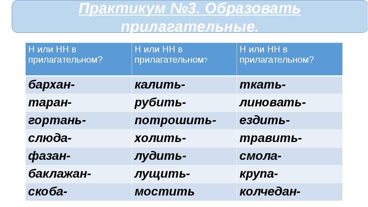 Практикум №3. Образовать прилагательные. Н или НН в прилагательном? Н или НН...