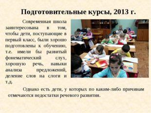 Подготовительные курсы, 2013 г. Современная школа заинтересована в том, чтобы