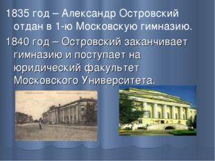 1835 год – Александр Островский отдан в 1-ю Московскую гимназию. 1840 год – О