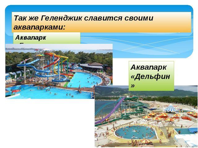 Так же Геленджик славится своими аквапарками: Аквапарк «Бегемот» Аквапарк «Де...