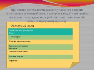 При оценке деятельности каждого учащегося в группе используется оценочный ли