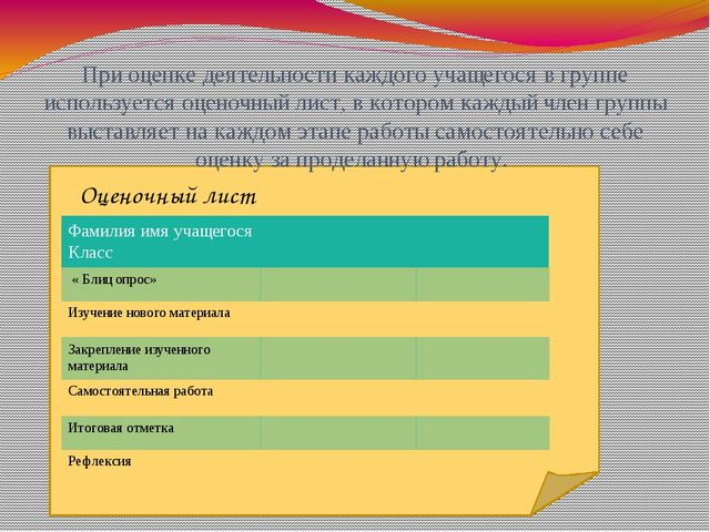 При оценке деятельности каждого учащегося в группе используется оценочный ли...