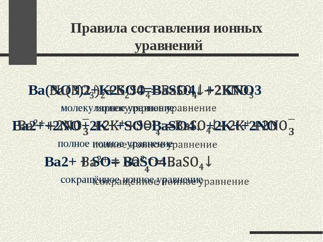 Правила составления ионных уравнений