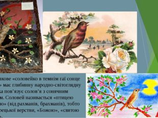 Шевченкове «соловейко в темнім гаї сонце зустрічає» має глибинну народно-сві
