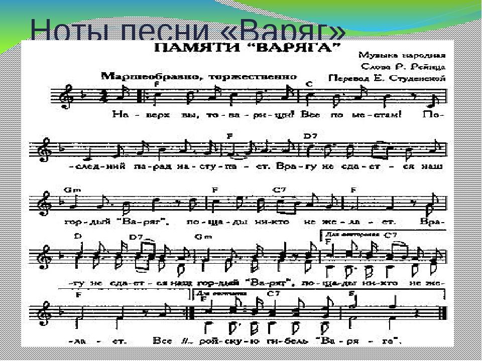 Ноты песни «Варяг»