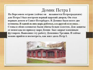 Домик Петра I На Березовом острове (сейчас он называется Петроградским) для П
