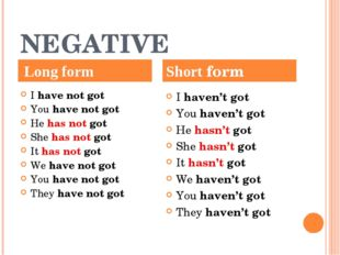 NEGATIVE I have not got You have not got He has not got She has not got I