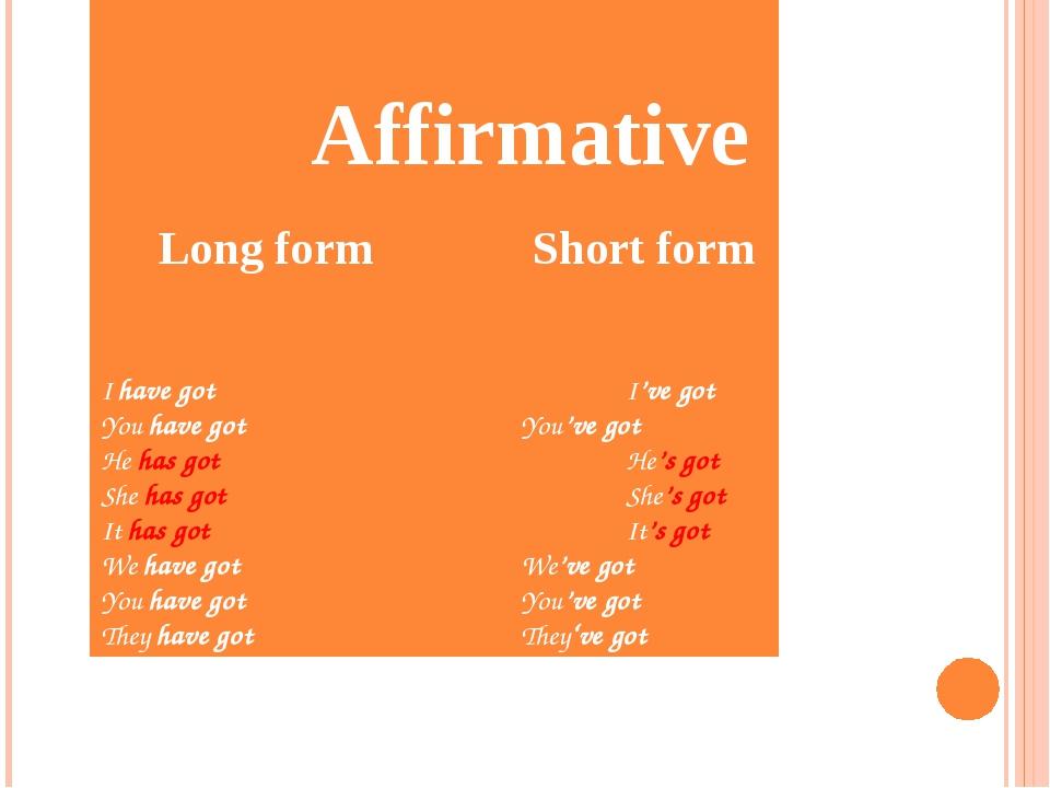 Affirmative Long form Short form  I have gotI've got You have go...