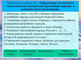 1. Пользуясь табл.2 стр.290 учебника определите крупнейшие народы для каждой
