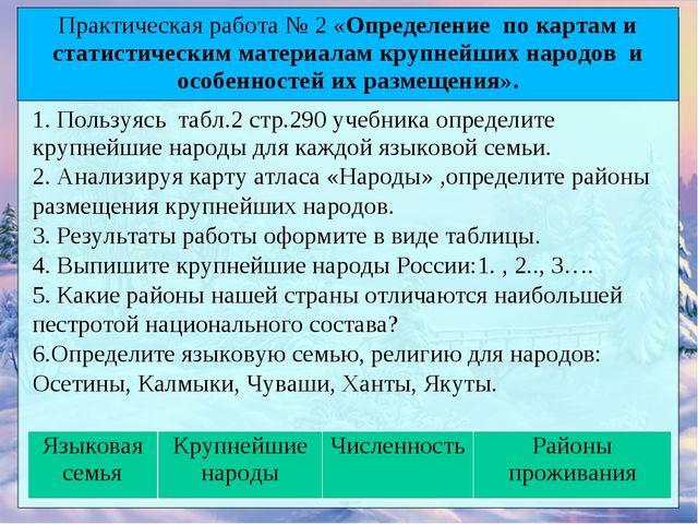 1. Пользуясь табл.2 стр.290 учебника определите крупнейшие народы для каждой...