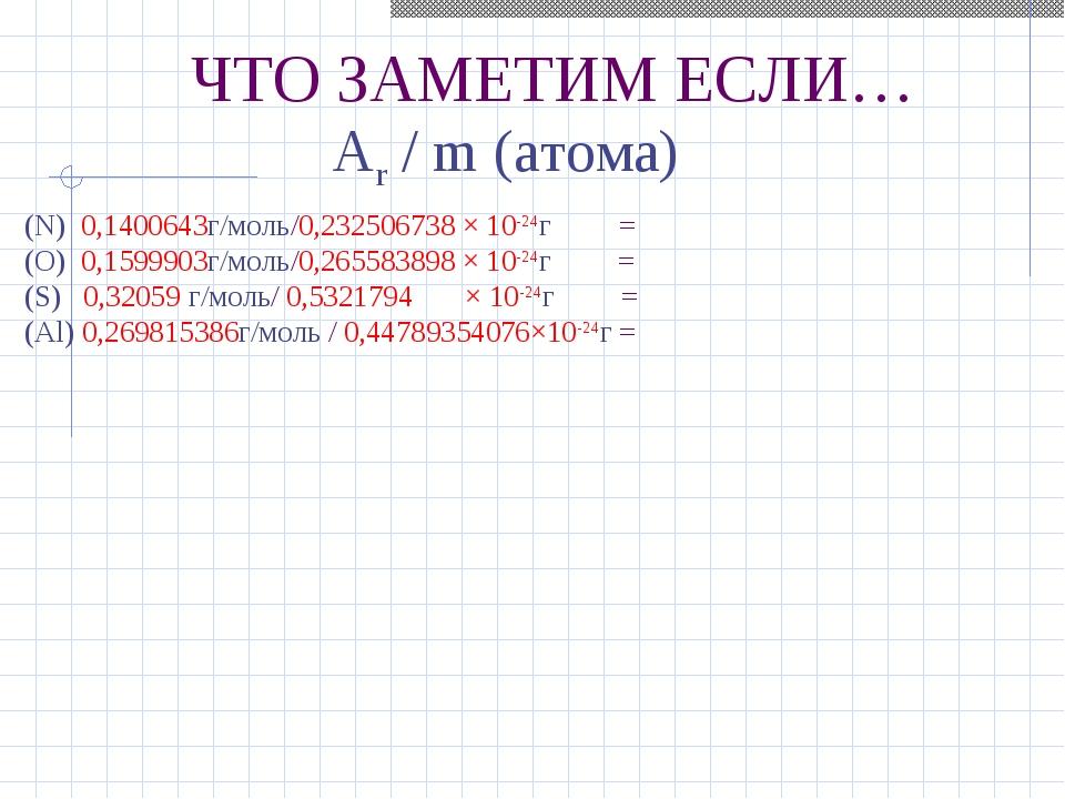 ЧТО ЗАМЕТИМ ЕСЛИ… Ar / m (атома) (N) 0,1400643г/моль/0,232506738 × 10-24г = (...