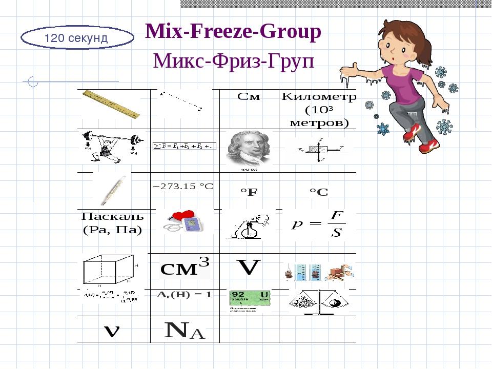 120 секунд Mix-Freeze-Group Микс-Фриз-Груп