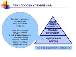 Взгляды и ценности, разделяемые большинством в компании: цели организации, пр