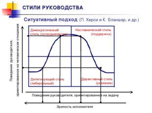 СТИЛИ РУКОВОДСТВА Ситуативный подход (П. Херси и К. Бланшар, и др.) Зрелость